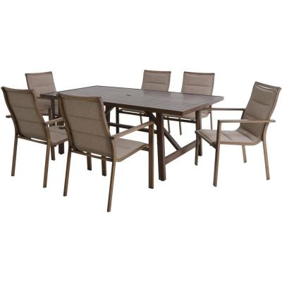 Fairhope 6 Padded Sling Chairs and a 7-Piece Steel Outdoor Dining Set with 74 in. x 40 in. Trestle Table in Tan