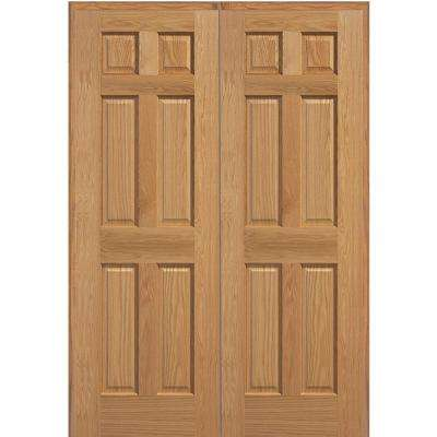 72 in. x 80 in. 6-Panel Unfinished Red Oak Wood Both Active Solid Core Double Prehung Interior Door