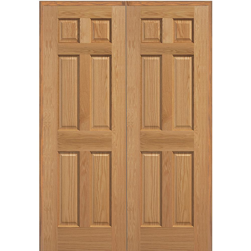 Mmi door 72 in x 80 in 6 panel unfinished red oak wood both active mmi door 72 in x 80 in 6 panel unfinished red oak wood planetlyrics Images