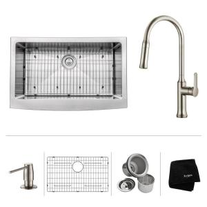 Kraus All-in-One Farmhouse Apron Front Stainless Steel 33 inch Single Bowl Kitchen Sink with Faucet in Stainless Steel by KRAUS