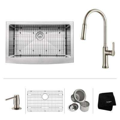 All-in-One Farmhouse Apron Front Stainless Steel 33 in. Single Bowl Kitchen Sink with Faucet in Stainless Steel