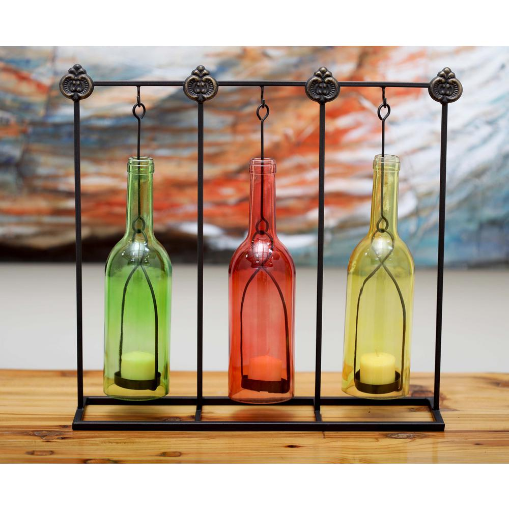 15 in. 3-Bottle Votive Candle Holders in Multi Color