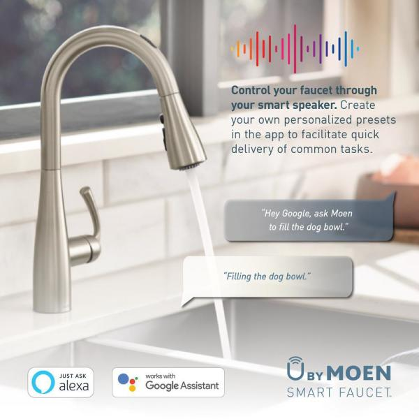 Moen U By Moen Align Single Handle Pull Down Sprayer Smart Kitchen Faucet With Voice Control And Power Clean In Matte Black 7565evbl The Home Depot