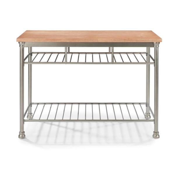 French Quarter Aged White Wash Natural Kitchen Island with Butcher Block Top