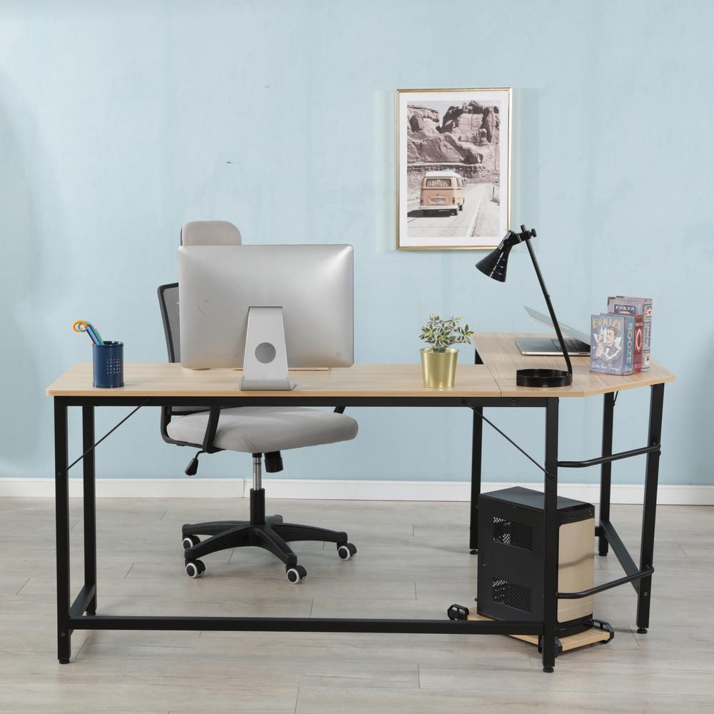 Oak Modern Design L-Shaped Desk Corner Computer Desk