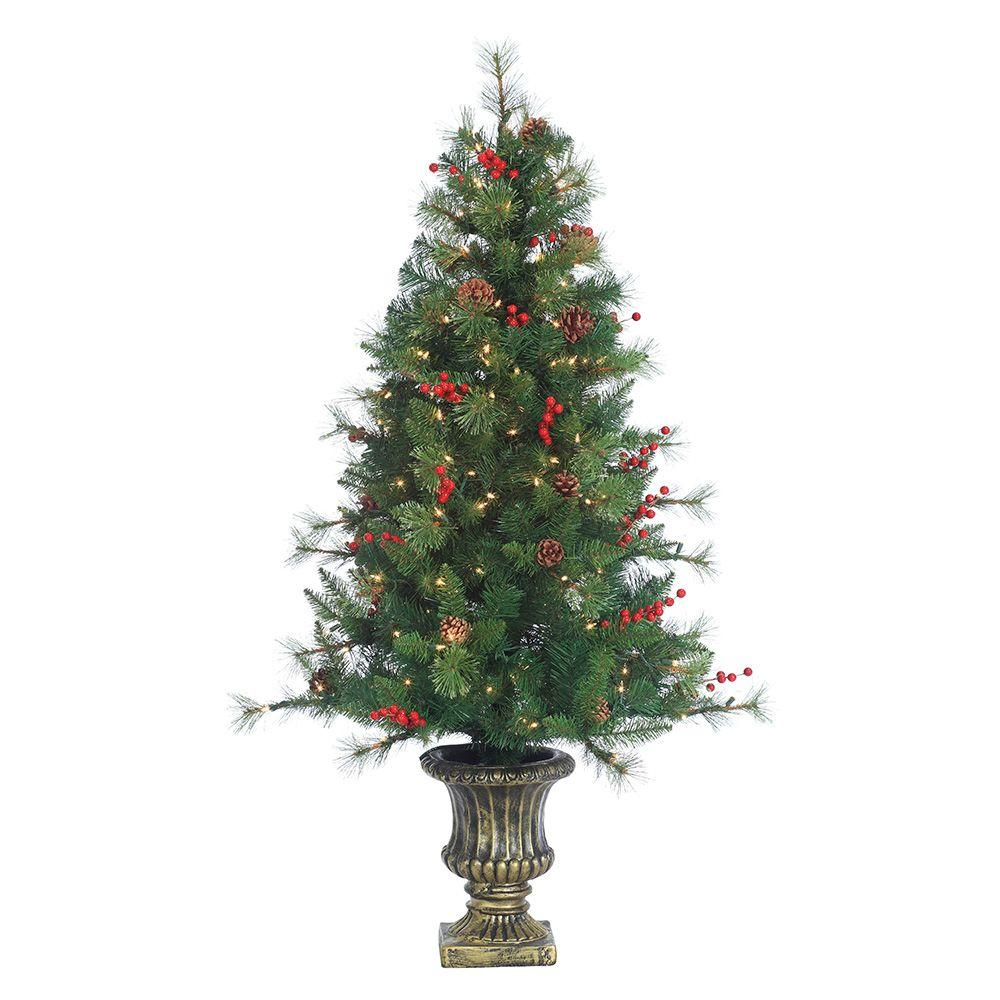Sterling 4 5 Ft Pre Lit Potted Artificial Christmas