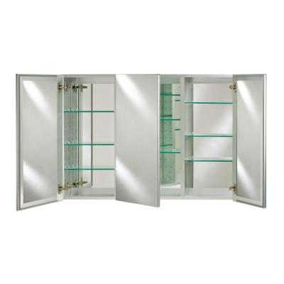Broadway 48 in. x 36 in. Triple Door Recessed/Optional Surface Mount Medicine Cabinet w/Polished Edge Frameless Mirrors