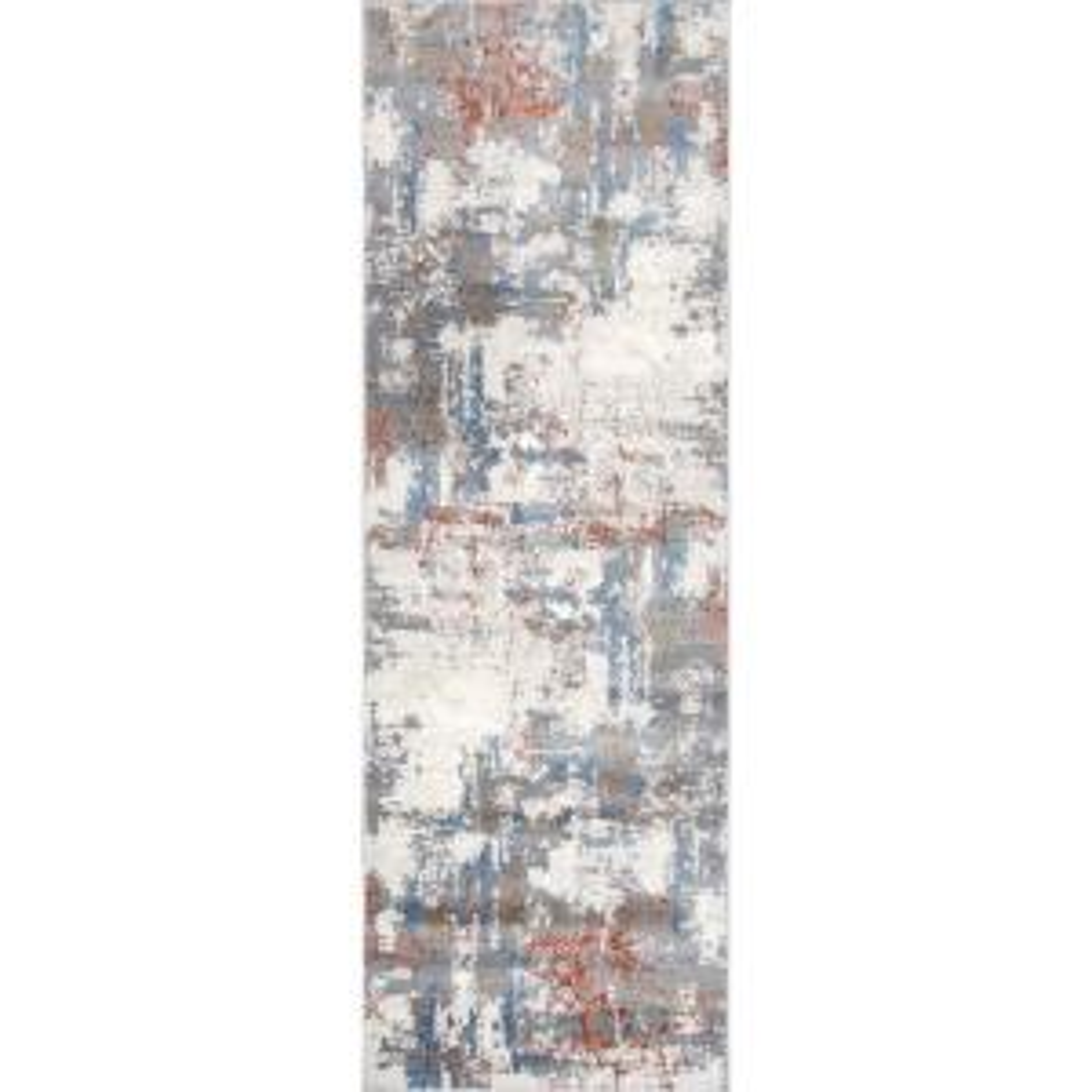 Cleo Modern Abstract Light Gray 2 ft. 8 in. x 8 ft. Indoor Runner Rug