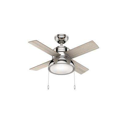 Loki 36 in. Integrated LED Indoor Polished Nickel Ceiling Fan with Light Kit
