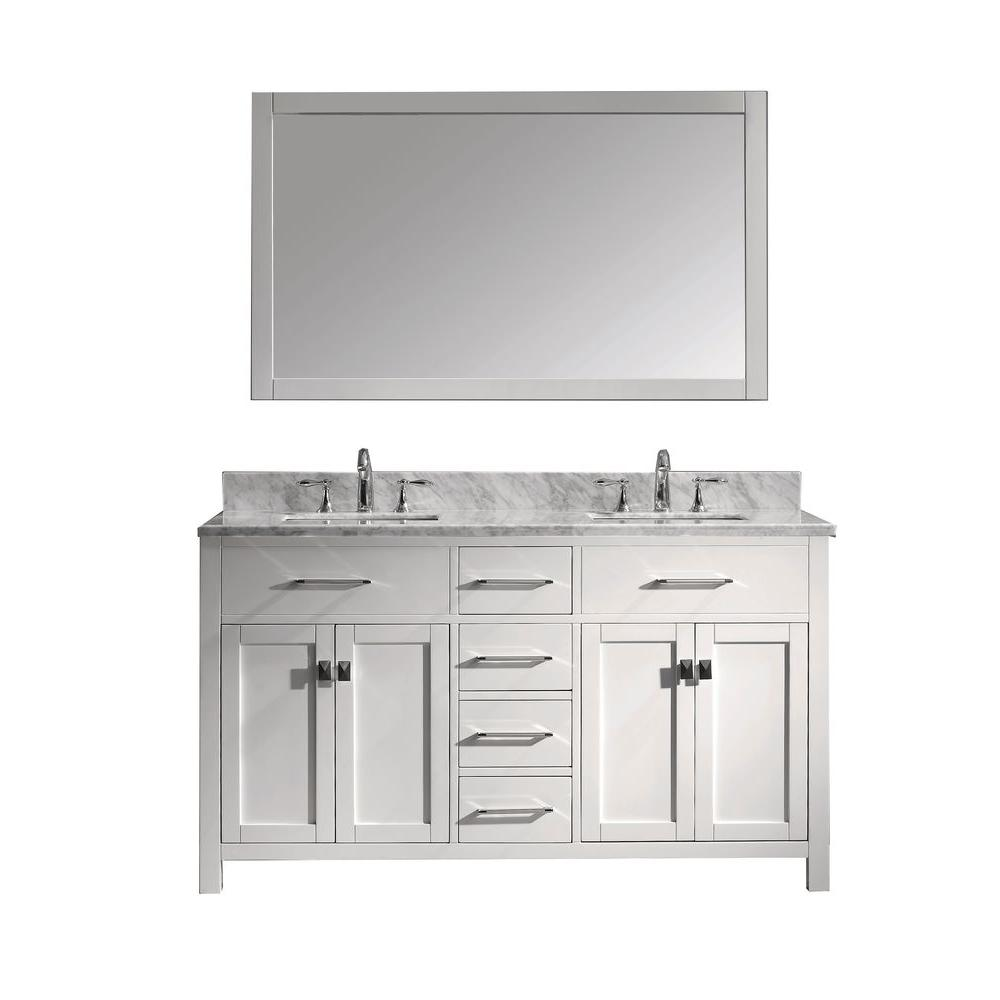 Virtu USA Caroline 60 in. W Bath Vanity in White with Marble Vanity Top in White with Square Basin and Mirror and Faucet