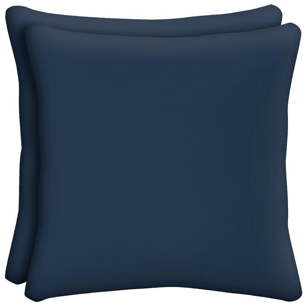 Hampton Bay Midnight Outdoor Throw Pillow (2-Pack)