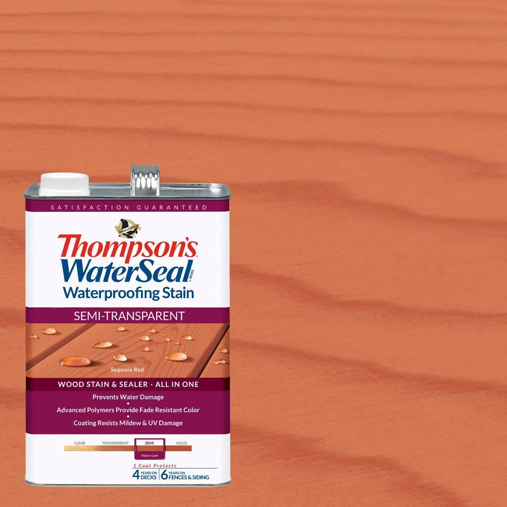 Thompson's WaterSeal 1 gal. Semi-Transparent Sequoia Red Waterproofing Stain Exterior Wood