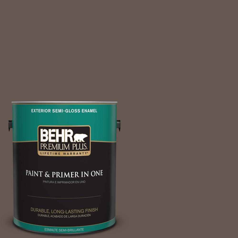 1 gal. #HDC-FL14-10 Pine Cone Brown Semi-Gloss Enamel Exterior Paint