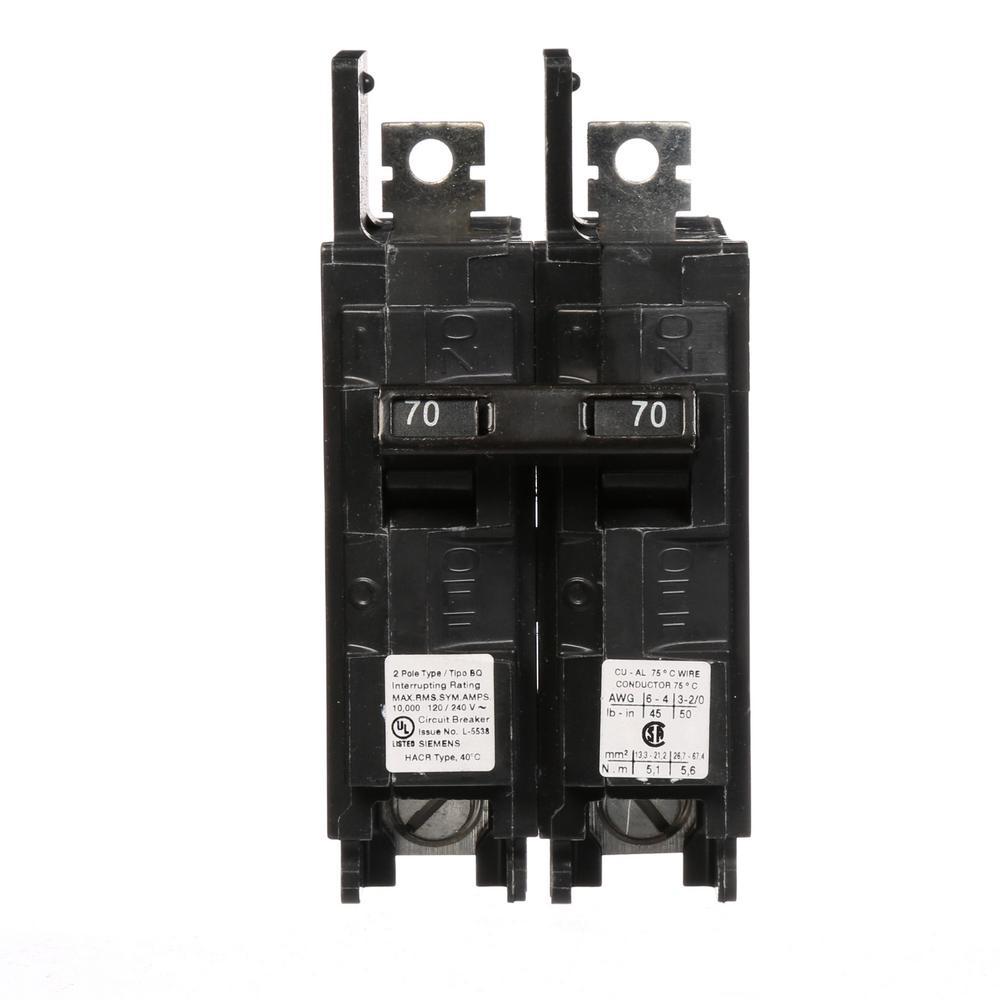 70 Amp 2-Pole Type BQ 10 kA Lug-In/Lug-Out Circuit Breaker