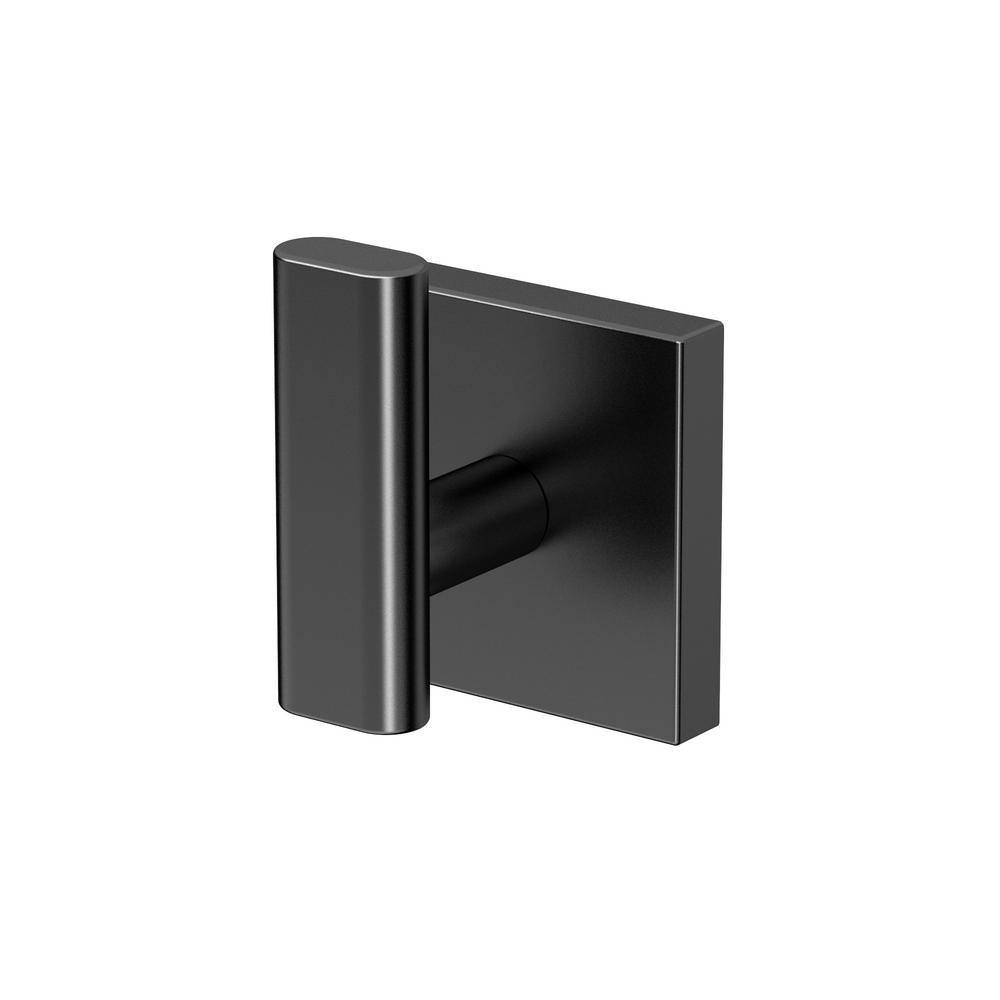 Gatco elevate robe hook in matte black 4055mx the home depot for Bathroom accessories matte black