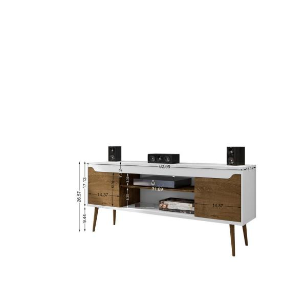 Manhattan Comfort Bradley 63 In White And Rustic Brown Composite Tv Stand Fits Tvs Up To 60 In With Cable Management 228bmc69 The Home Depot