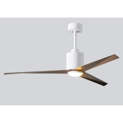 Eliza 56 in. LED Indoor/Outdoor Damp Gloss White Ceiling Fan with Light with Remote Control, Wall Control