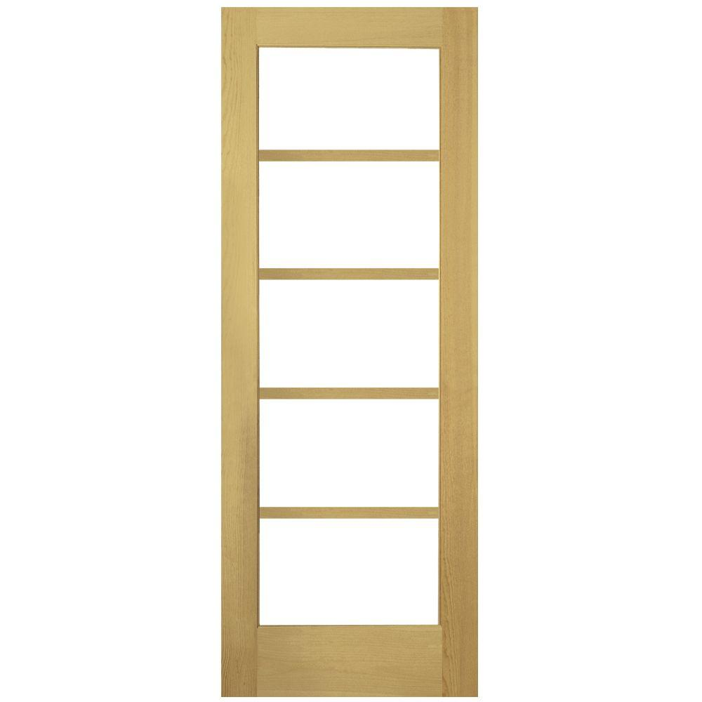 Masonite 30 in x 80 in shaker smooth 5 lite solid core unfinished pine interior door slab for Solid core interior doors soundproof