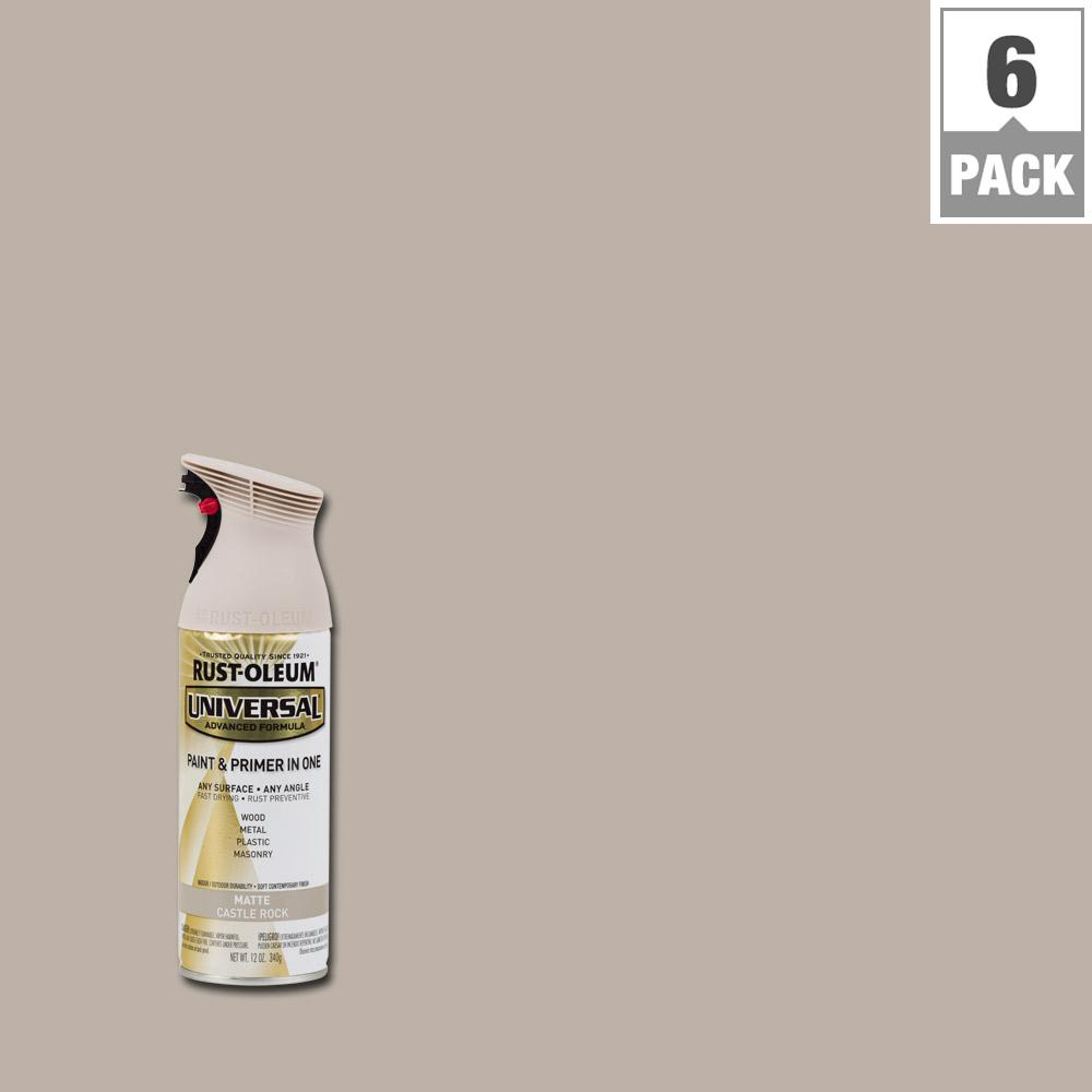 Rust-Oleum Universal 12 oz  All Surface Matte Castle Rock Spray Paint and  Primer in One (6-Pack)