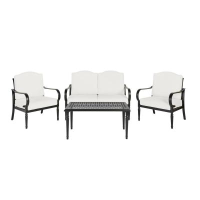 Laurel Oaks Brown 4-Piece Steel Outdoor Patio Conversation Seating Set with CushionGuard Chalk White Cushions
