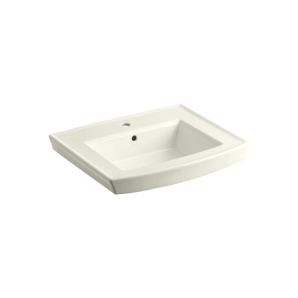 Archer 4 in. Vitreous China Pedestal Sink Basin in Biscuit with