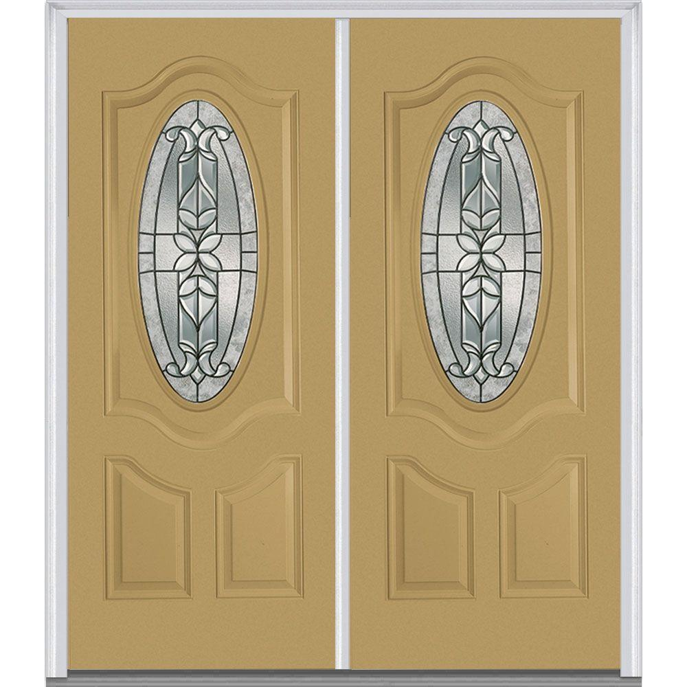 72 in. x 80 in. Cadence Left-Hand Small Oval 2-Panel Deluxe
