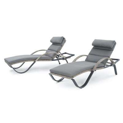 Cannes Patio Chaise Lounges with Charcoal Grey Cushions (2-Pack)