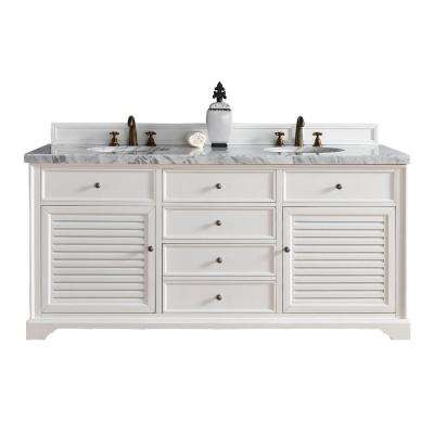 Savannah 72 in. W Double Vanity in Cottage White with Marble Vanity Top in Carrara White with White Basin