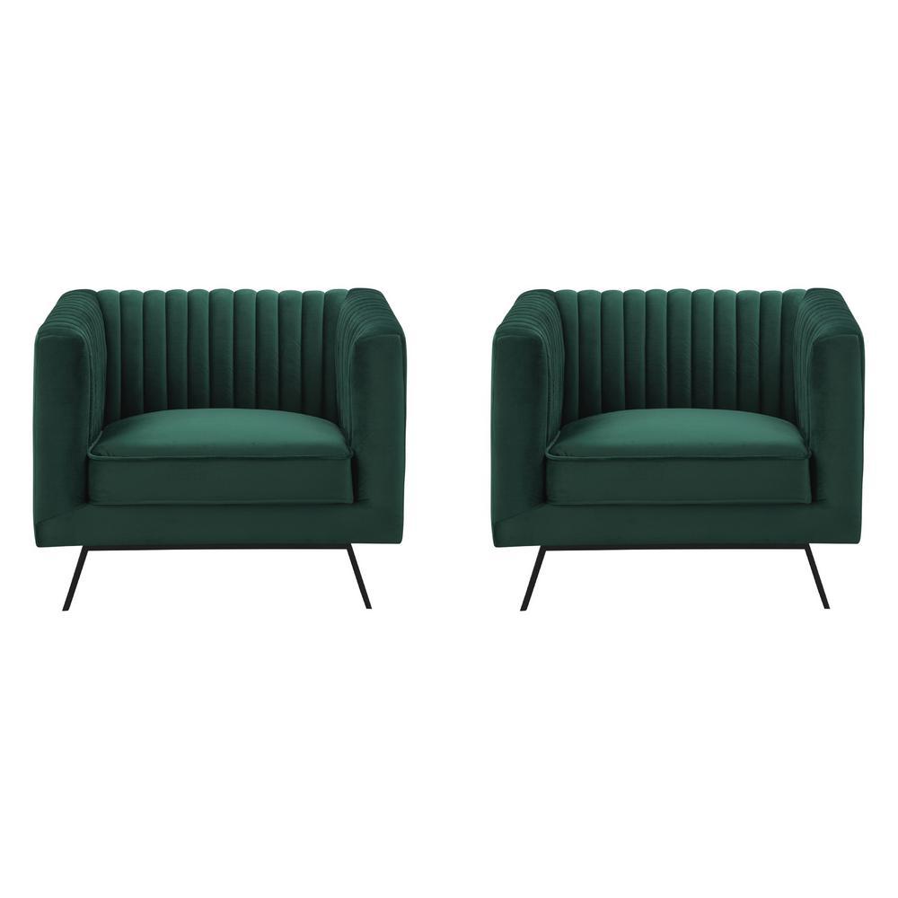Vandam Hunter Green Velvet Armchairs (Set of 2)