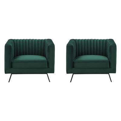 Vandam Hunter Green Velvet Armchairs (Set of 2)