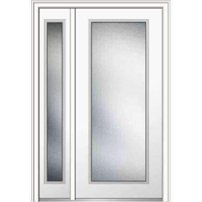 50 in. x 80 in. Micro Granite Right-Hand Full Lite Classic Primed Fiberglass Smooth Prehung Front Door with Sidelite