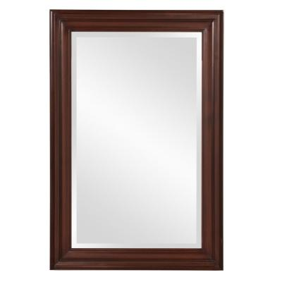 Medium Rectangle Chocolate Brown Beveled Glass Casual Mirror (36 in. H x 24 in. W)