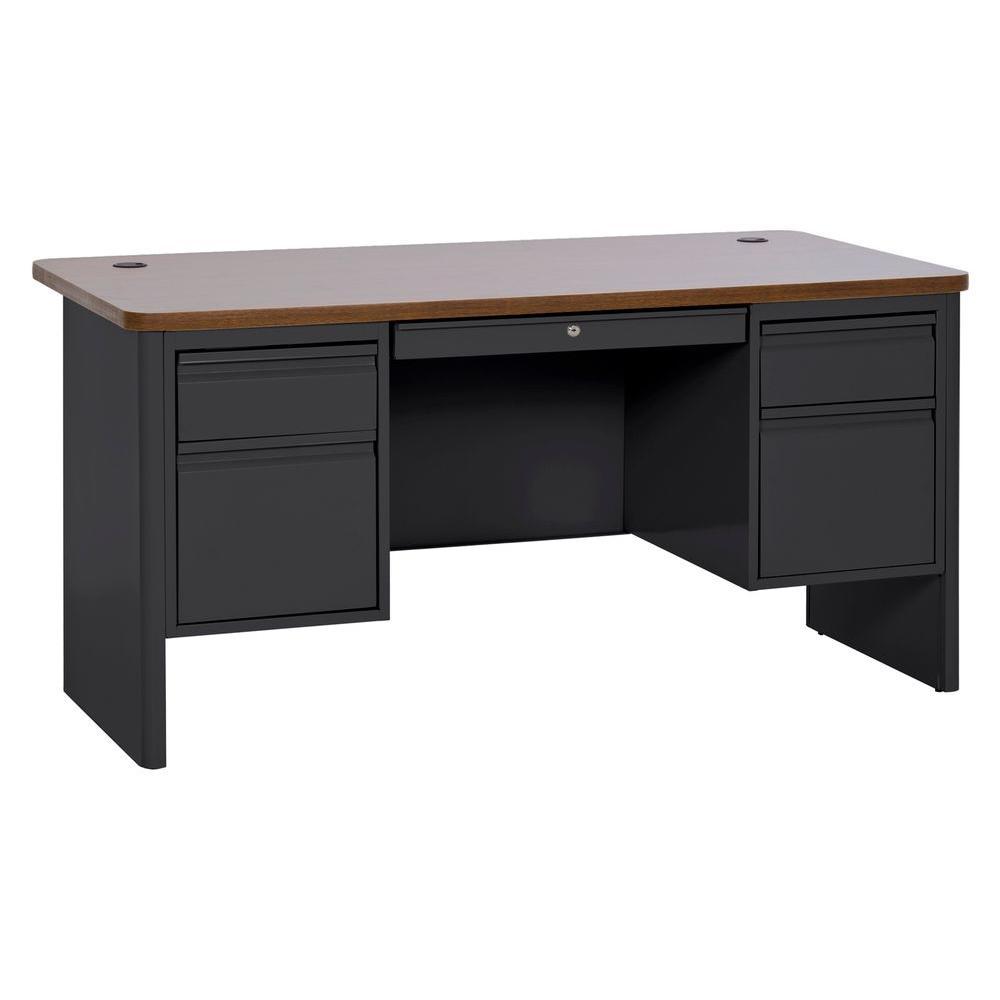 29.5 in. H x 60 in. W x 30 in. D 700 Series Double Pedestal Teachers Desk in Black/Medium Oak