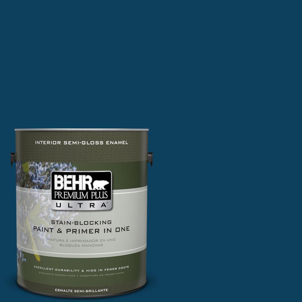 BEHR Premium Plus Ultra 1-gal. #ECC-53-3 Outer Space Semi-Gloss Enamel Interior Paint