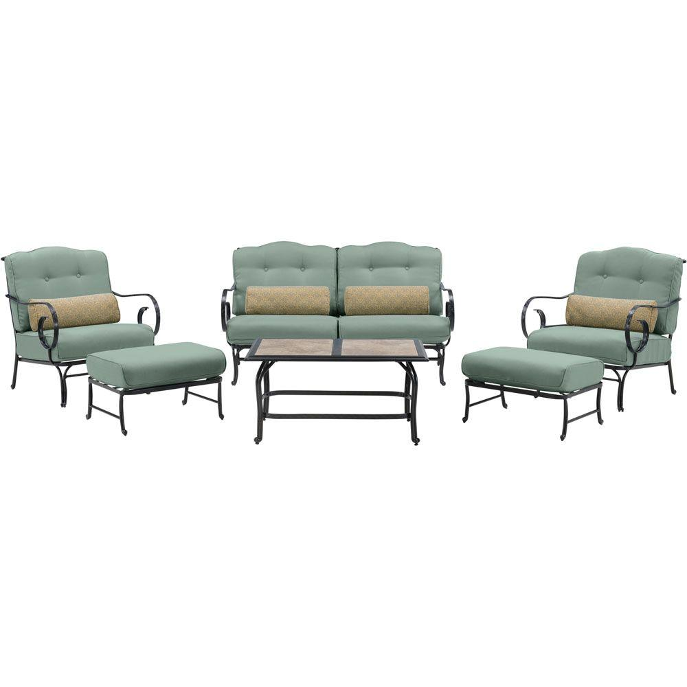 Hanover Oceana 6-Piece Metal Patio Seating Set with a Tile-Top ...