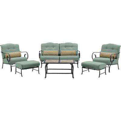 Oceana 6-Piece Metal Patio Seating Set with a Tile-Top Coffee Table and Ocean Blue Cushions