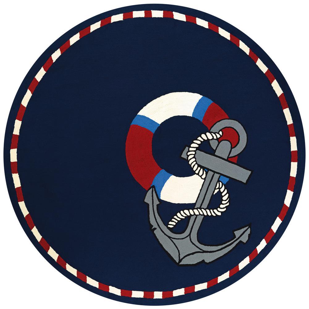 10b64ea6826933 Outdoor Escape Anchors Away Navy 8 ft. x 8 ft. Round Indoor Outdoor Area Rug