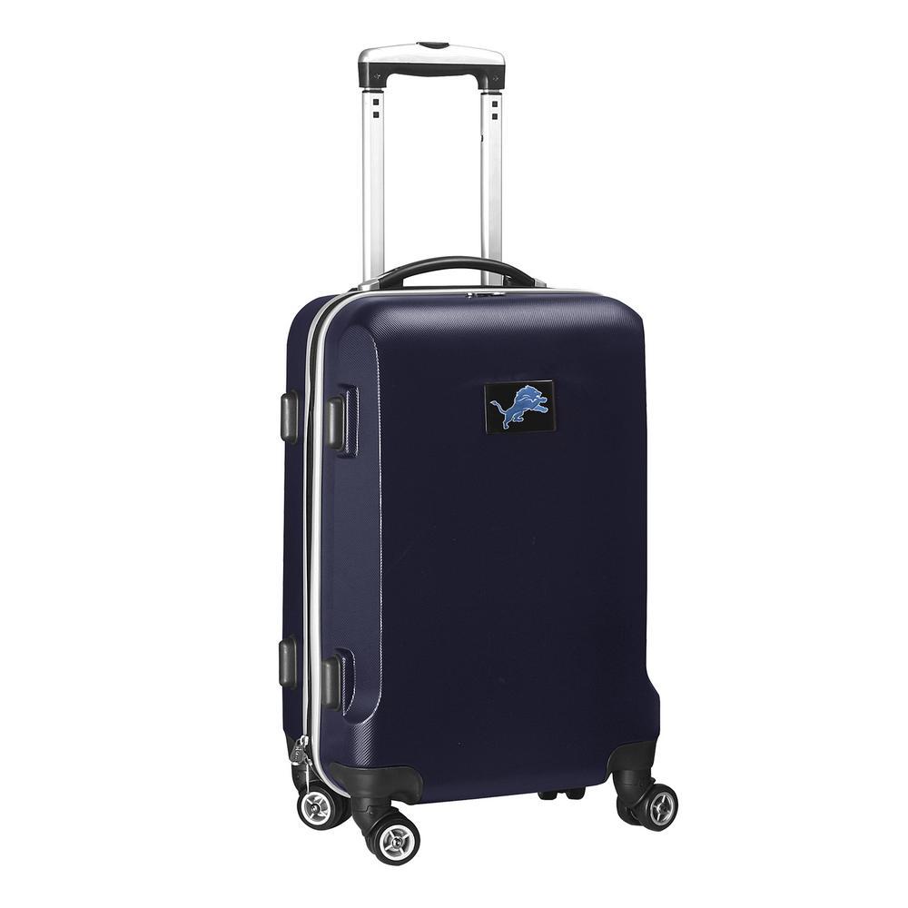 Denco NFL Detroit Lions 21 in. Navy Carry-On Hardcase Spinner Suitcase, Blue