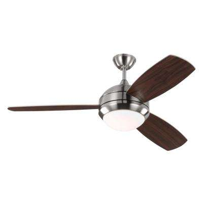 Discus Trio 52 in. LED Indoor/Outdoor Brushed Steel Ceiling Fan with Light Kit
