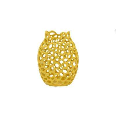 Yellow Ceramic Pierced Decorative Vase with Glossy Finish