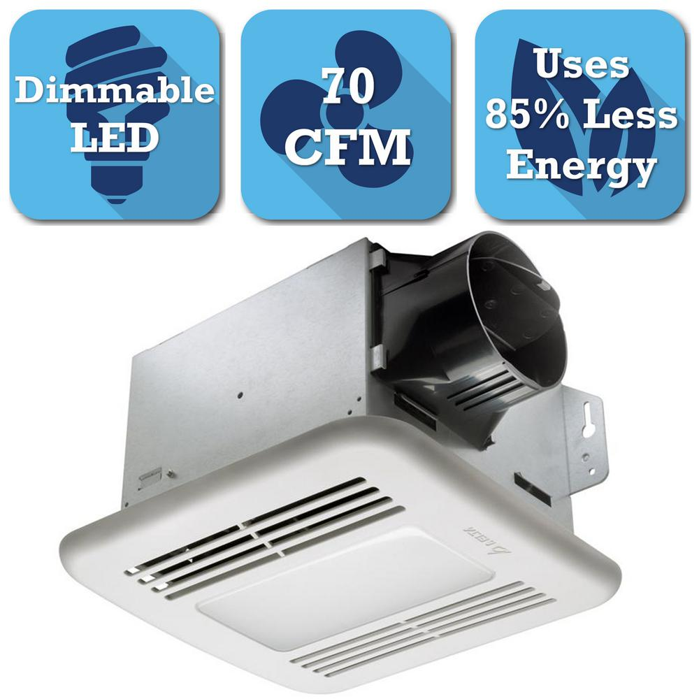 Delta breez integrity series 70 cfm ceiling bathroom for Bathroom exhaust fan with led light