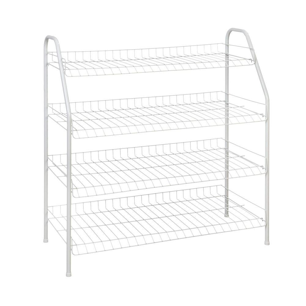 ClosetMaid 28 in. H x 26 in W x 12 in. D 4-Shelf 12-Pair Ventilated Wire Shoe Organizer in White