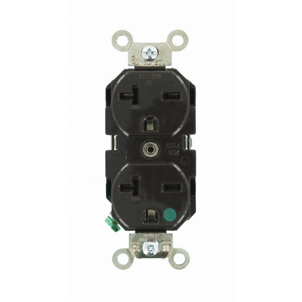 Leviton 8400 20 Amp, 250 Volt, Wide Body Duplex Receptacle, Straight ...