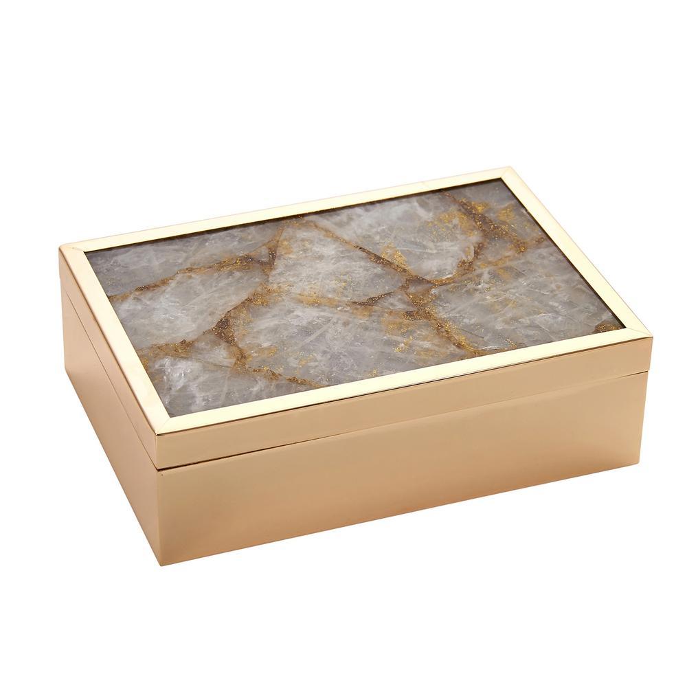 Gold Natural Agate Top Box