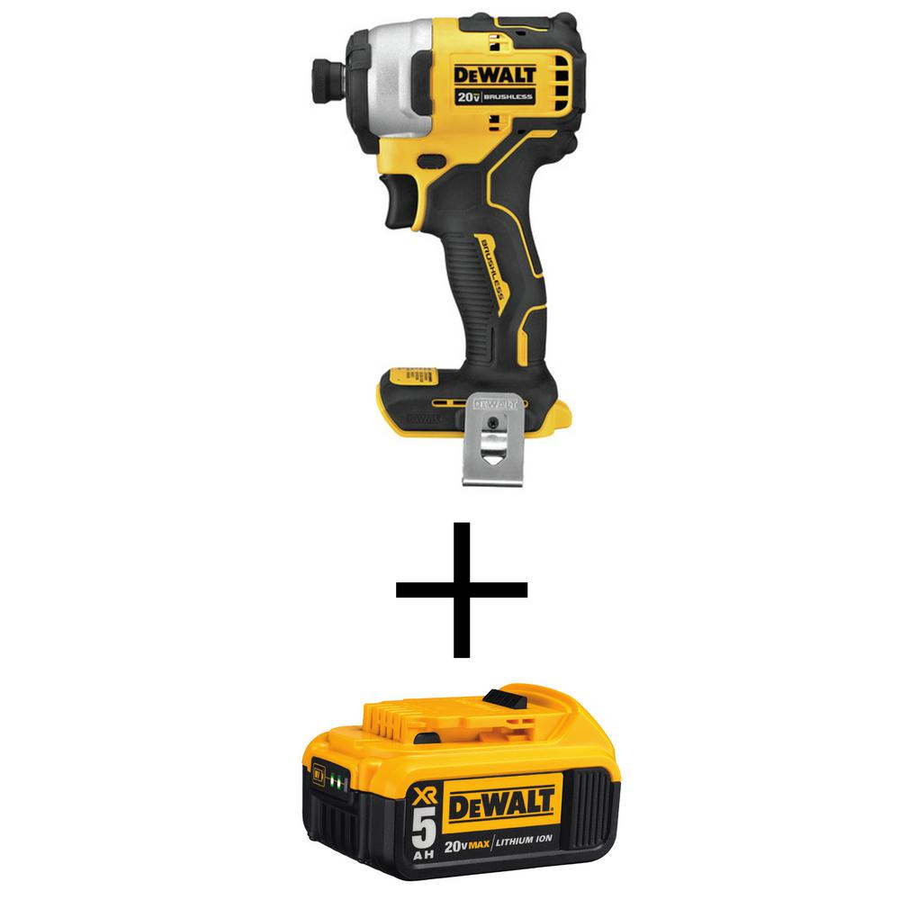 DEWALT ATOMIC 20-Volt MAX Brushless Cordless Compact Impact Driver (Tool-Only) with Bonus 20-Volt MAX XR Li-Ion Battery 5.0Ah
