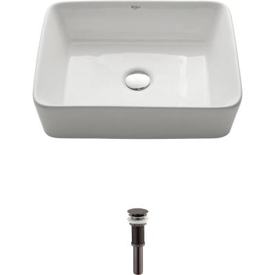 Rectangular Ceramic Vessel Bathroom Sink in White with Pop Up Drain in Oil Rubbed Bronze