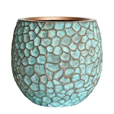 18 in. D Large Patina Green Composite Hammered Planter