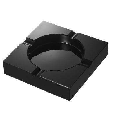 Trey 7 in. Heavy-duty Black Crystal Cigar Ashtray with 4-Cigar Rests