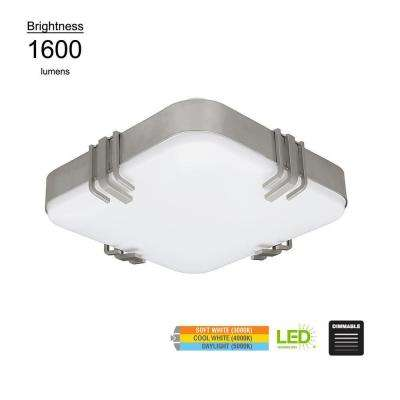 Mission Style 14 in. Square Brushed Nickel 100 Watt Equivalent Integrated LED Flush Mount with Color Changing Feature