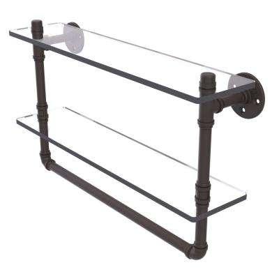 Pipeline Collection 22 in. Double Glass Shelf with Towel Bar in Oil Rubbed Bronze